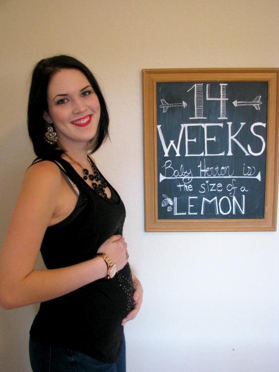 14 Weeks Pregnant Chalkboard Tracker